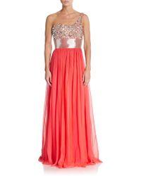 La Femme Embellished One-Shoulder Gown - Lyst