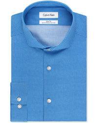 Calvin Klein Steel Non-iron Slim-fit Blue Geo Print Performance Dress Shirt - Lyst