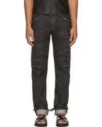 Balmain Washed Black New Biker Jeans - Lyst