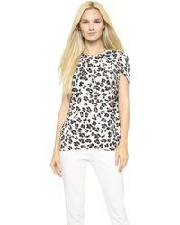 Cushnie et Ochs Draped Leopard Silk Top - Snow Leopard - Lyst