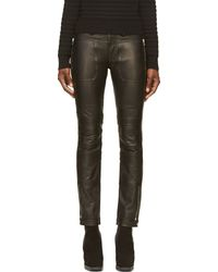 Diesel Black Gold Black Leather Punik Trousers - Lyst