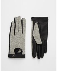 Pieces - Viluka Wool Cutout Gloves - Lyst