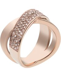 Michael Kors Rose Gold-Tone Pave Crisscross Band Ring - Lyst