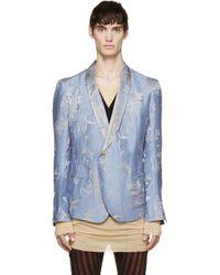 Haider Ackermann Blue And Silver Jacquard Floral Blazer blue - Lyst