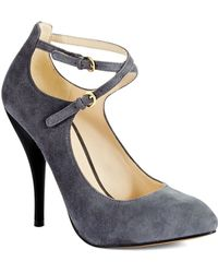 Nine West Gray Cohearent Heels - Lyst