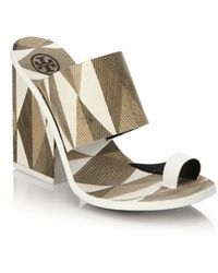 Tory Burch Kempner Mosaic-Print Mule Sandals brown - Lyst
