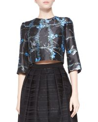 Tibi Windowpane Flowers Cropped Top - Lyst