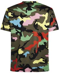 Valentino Multi-Colour Camouflage Studded T-Shirt - Lyst