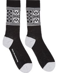 White Mountaineering Black and White Fair Isle Socks - Lyst