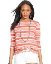 Polo Ralph Lauren Striped Linen Boatneck Tee - Lyst