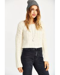 JOA Cropped Chunky Knit Sweater - Lyst