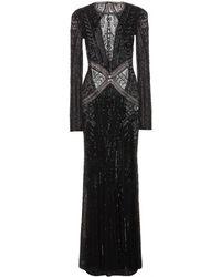 Roberto Cavalli Beaded Fine-Knit Gown - Lyst