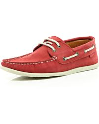 River Island Red Boat Shoes - Lyst
