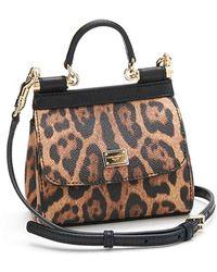 Dolce & Gabbana Mini Miss Sicily Leopard-Print Leather Satchel - Lyst
