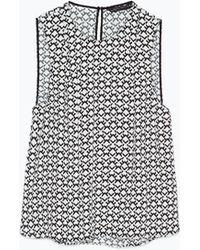 Zara Printed Top black - Lyst