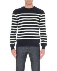 A.P.C. Breton-stripe Wool and Cashmere-blend Jumper - Lyst