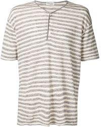 Camoshita Cotton Linen Stripe Henley - White