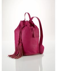 Ralph Lauren Pink Fringed-Drawstring Backpack - Lyst