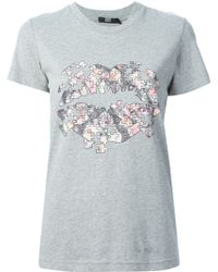 Markus Lupfer Floral Puzzle Lips T-Shirt - Lyst