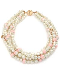 Tory Burch Evie Dipped Faux-Pearl Multistrand Necklace pink - Lyst