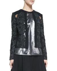 Nanette Lepore Protagonist Embroidered Sheerinset Jacket - Lyst