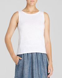 Eileen Fisher Boat Neck Linen Shell - Lyst