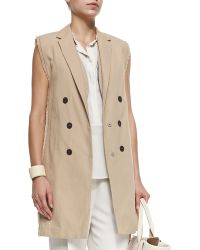 Brunello Cucinelli Long Double Breasted Vest With Fringe - Lyst