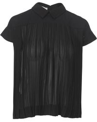 Stefanel Short Sleeve Blouse in Mixed Fabrics - Lyst