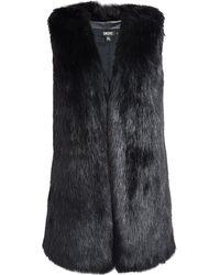 DKNY Long Faux Fur Collarless Vest - Lyst