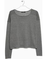 Mango Long Sleeve T-Shirt gray - Lyst