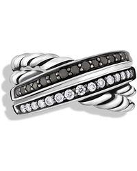David Yurman Crossover Ring With Black & White Diamonds - Metallic