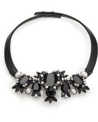 Givenchy Crystal & Leather Collar Necklace - Lyst