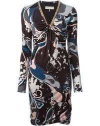 Emilio Pucci Abstract Print Fitted Dress - Lyst