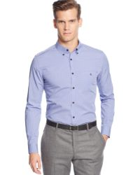 Calvin Klein Mini Gingham Check Slim-fit Shirt - Lyst