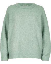 River Island | Light Green Fluffy Wool-blend Jumper | Lyst