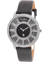 Thierry Mugler - Women's Black Genuine Leather And Dial Crystal Bezel - Lyst