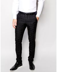 Vito - Tonal Check Suit Trousers In Slim Fit - Lyst