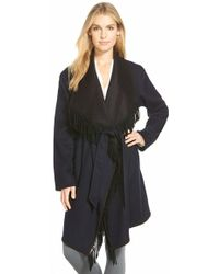 Sofia Cashmere | Reversible Wool Blend Wrap Coat With Fringe | Lyst