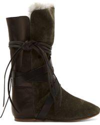 Isabel Marant Green Fur_wrap Nia Boots - Lyst