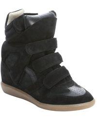 Isabel Marant Black Leather Bekett High Top Wedge Sneakers - Lyst