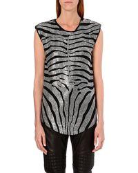 Balmain Zebra Embellished Top  - Lyst