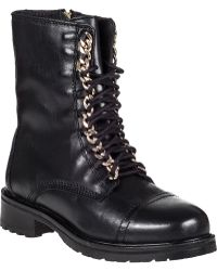 Steve Madden 2-Chain Lace-Up Boot Black Leather black - Lyst