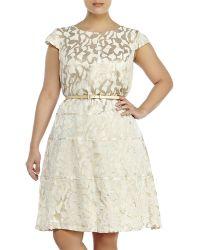 Anne Klein Plus Size Jacquard Belted Swing Dress - Lyst