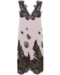 Christopher Kane Floral Lace Trim Wool Dress - Lyst