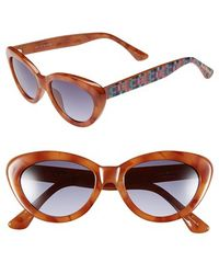 Isaac Mizrahi New York - 50mm Cat Eye Sunglasses - Honey Tortoise - Lyst