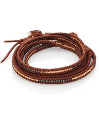 Chan Luu Two-Tone Beaded Leather Multi-Row Wrap Bracelet/Brown - Lyst