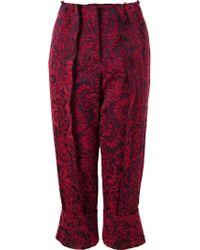 Fernanda Yamamoto - Cropped Floral Trousers - Lyst