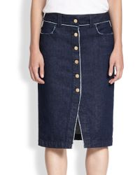 7 For All Mankind Raw-edged Button-front Denim Skirt - Lyst
