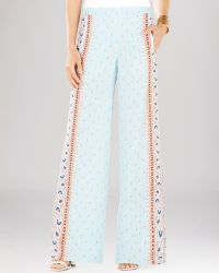 BCBGMAXAZRIA Trousers - Joan Printed Wide Leg - Blue