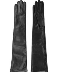Nina Ricci Patent-Leather And Leather Gloves - Lyst